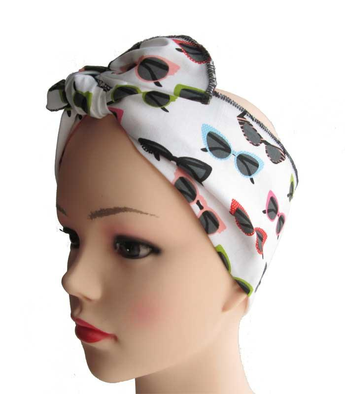 Cat Eye Sunglasses Fabric Head Wrap Scarf - The Atomic Boutique  - 1