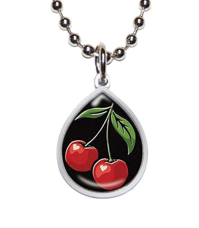 Cherries Tear Drop Necklace - The Atomic Boutique