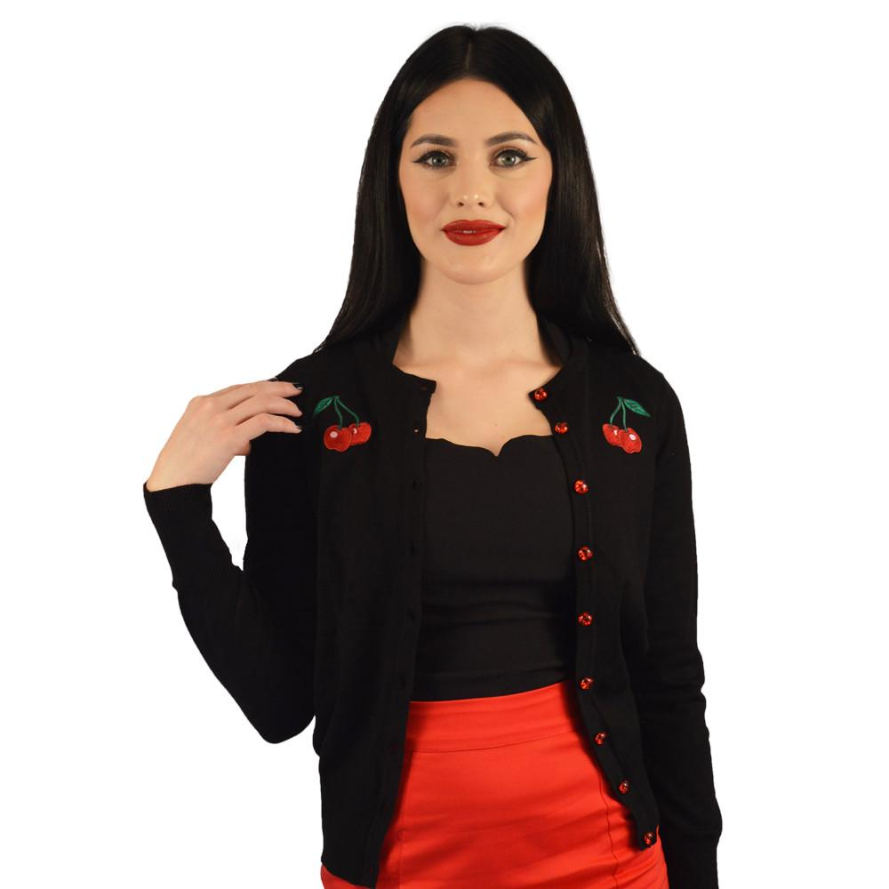 Atomic Apparel Wild Cherries Black Button Down Cardigan - The Atomic Boutique  - 2