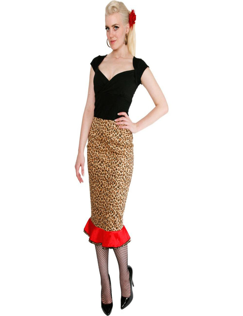 Leopard Pencil Red Frill Skirt - The Atomic Boutique