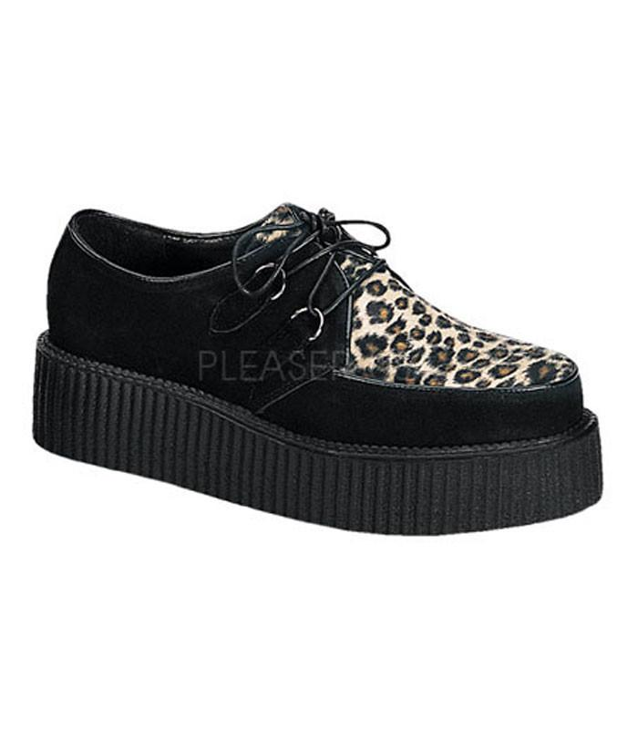 Demonia Leopard and Black Creepers - The Atomic Boutique