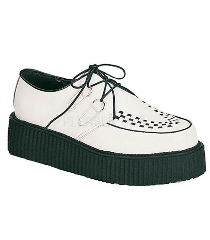 Two Inch Demonia Creepers Black and White Leather CREEPER-402 - The Atomic Boutique