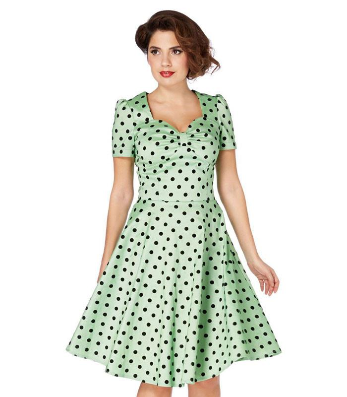 Voodoo Vixen Green Flocked Polka Dot Swing Dress - The Atomic Boutique  - 2