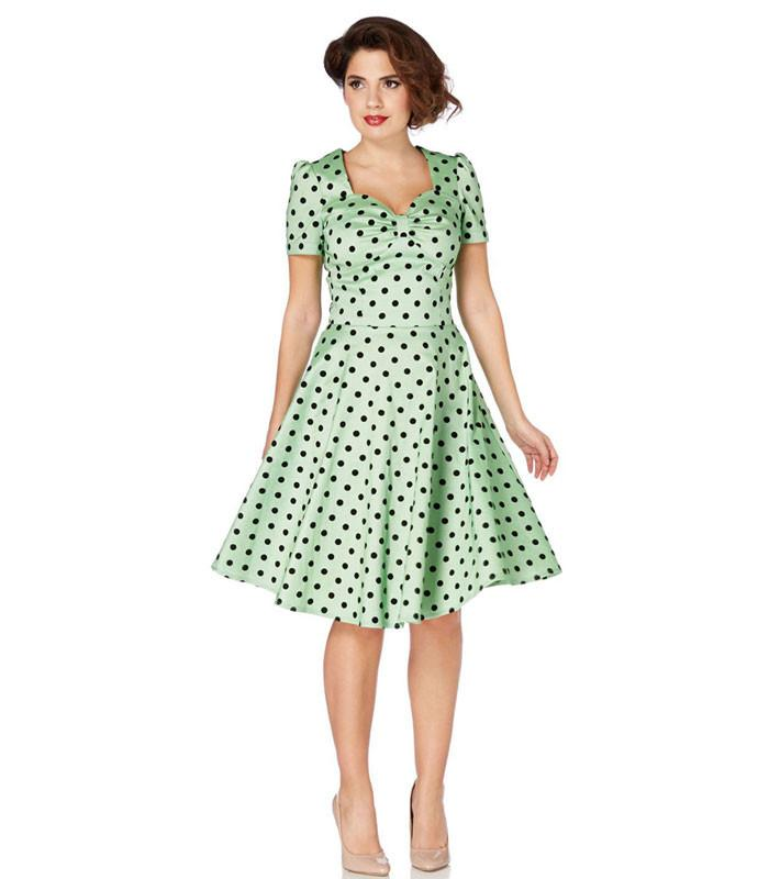 Voodoo Vixen Green Flocked Polka Dot Swing Dress - The Atomic Boutique