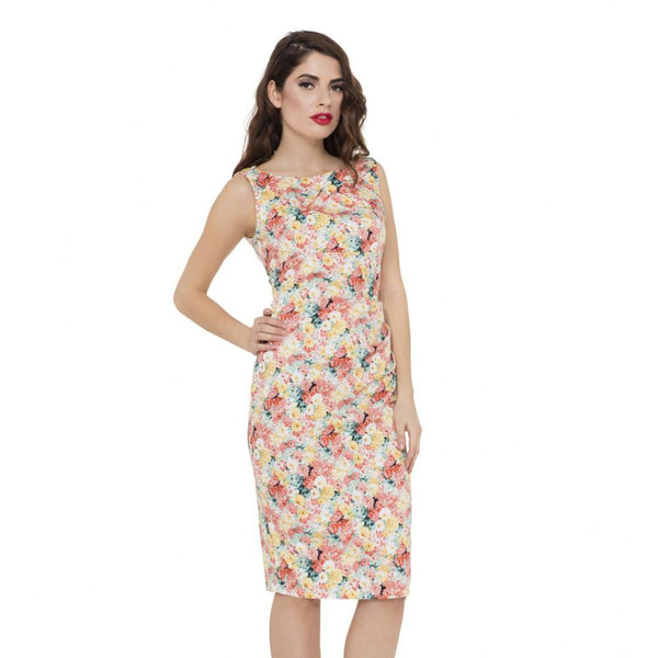 Voodoo Vixen Anastasia Painted Floral Pencil Dress - The Atomic Boutique  - 1
