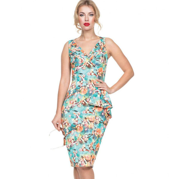 Voodoo Vixen Lizabeth Tropical Bird Print Pencil Dress