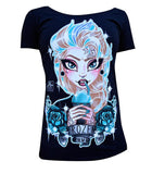 Lowbrow Queen Elsa Frozen Scoop Neck By Miss Cherry Martini - The Atomic Boutique