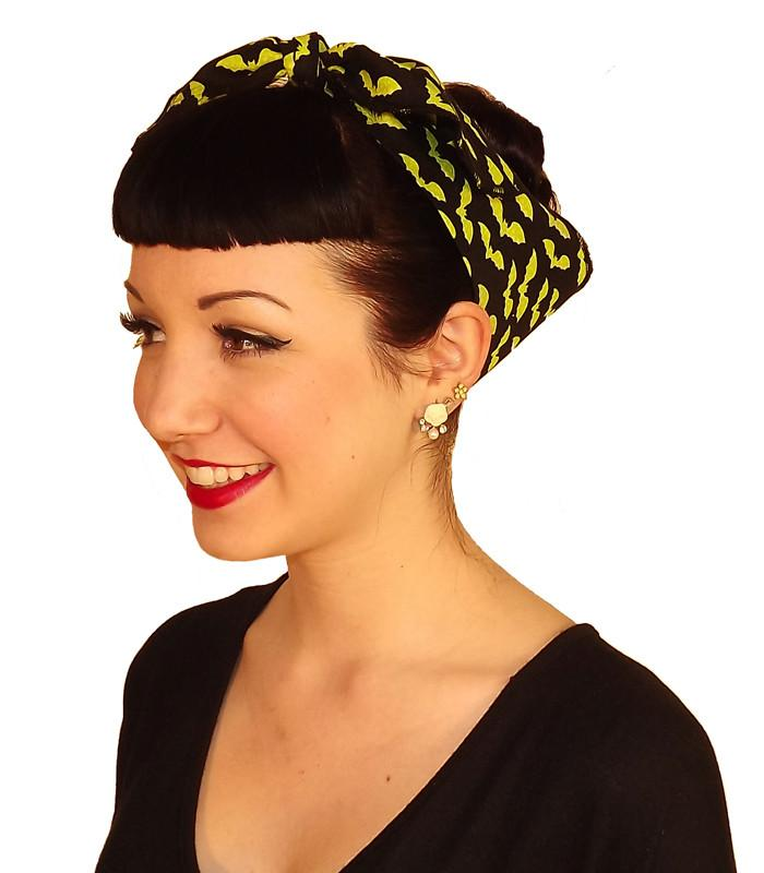Green Bat Fabric Head Wrap Scarf - The Atomic Boutique  - 1