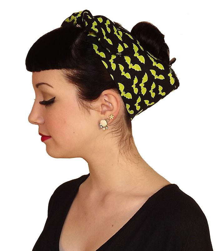 Green Bat Fabric Head Wrap Scarf - The Atomic Boutique  - 2