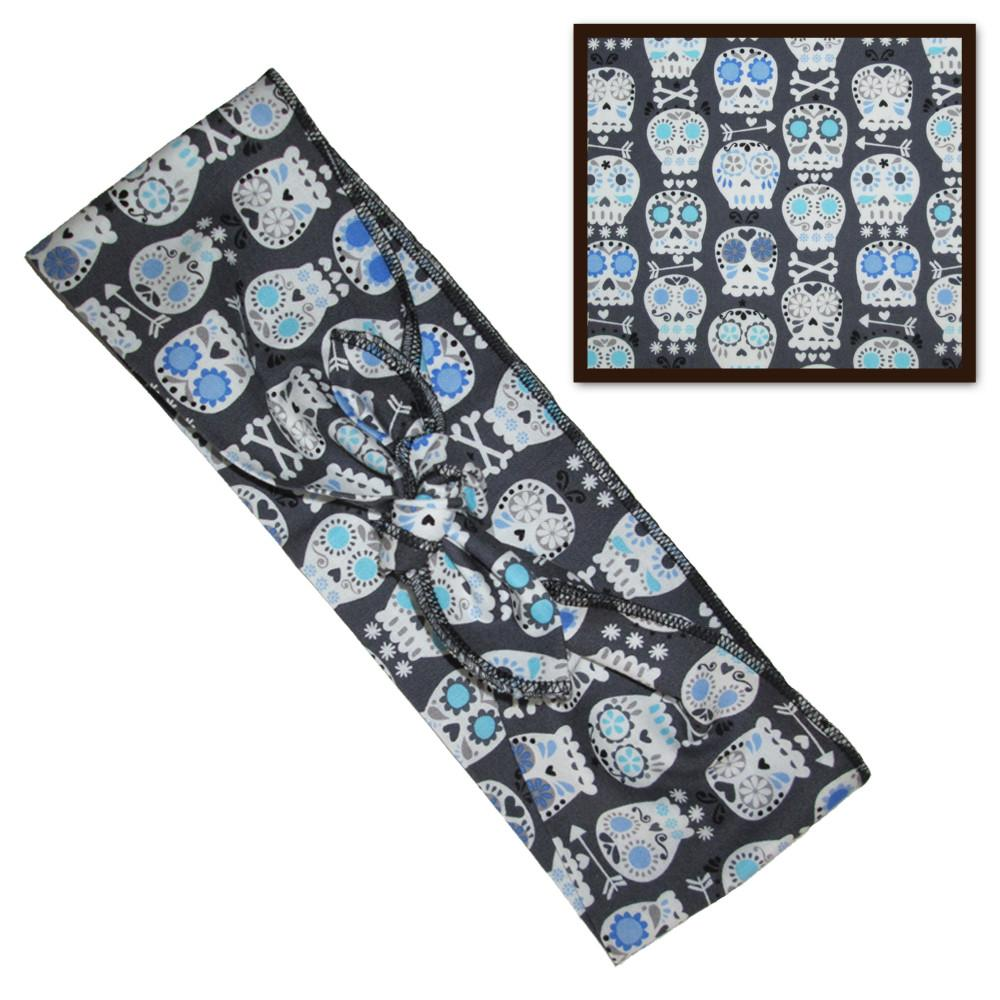 Grey Sugar Skull Fabric Head Wrap Scarf - The Atomic Boutique