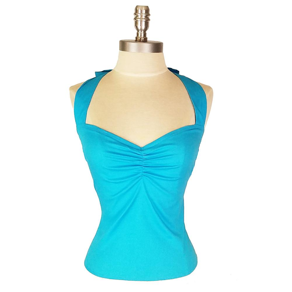 Atomic Apparel Aqua Blue Kiana Halter Top - The Atomic Boutique