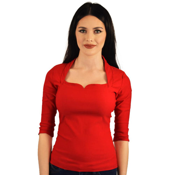 Atomic Apparel High Collar Roxy Red Top - The Atomic Boutique  - 1