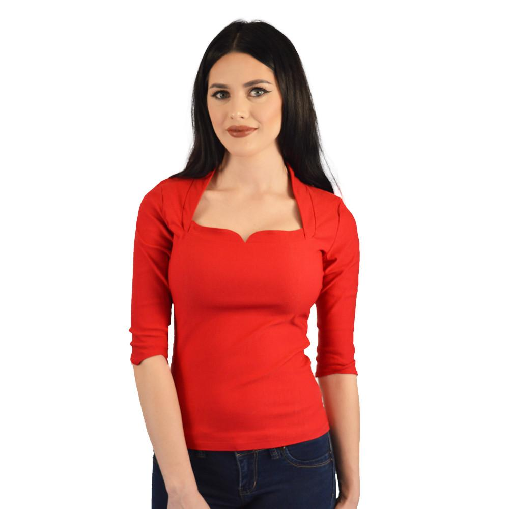 Atomic Apparel High Collar Roxy Red Top - The Atomic Boutique