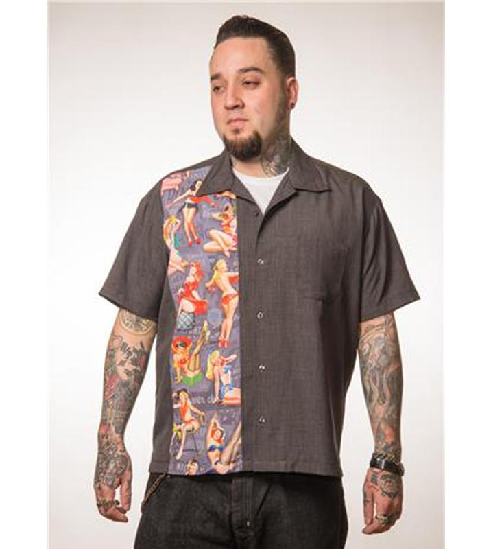 Pin Up Print Panel Shirt Charcoal - The Atomic Boutique