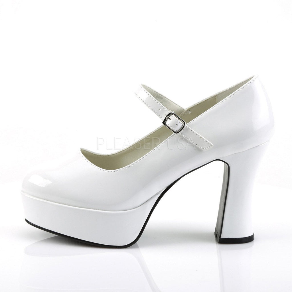 Funtasma Mary Jane White Patent Ankle Strap Pumps - The Atomic Boutique  - 3