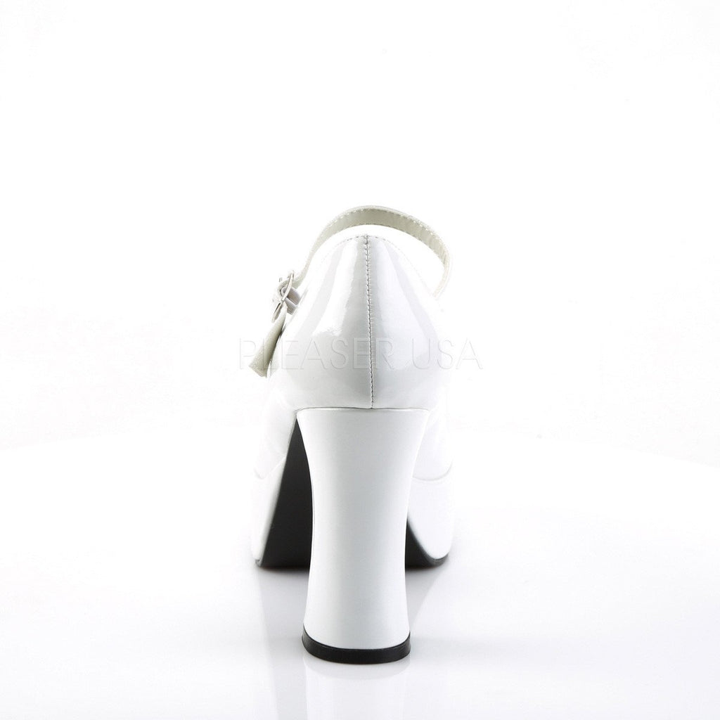 Funtasma Mary Jane White Patent Ankle Strap Pumps - The Atomic Boutique  - 4