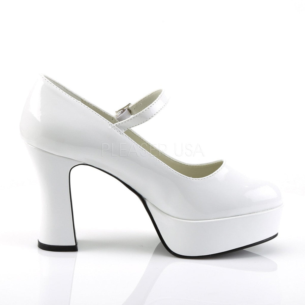 Funtasma Mary Jane White Patent Ankle Strap Pumps - The Atomic Boutique  - 5