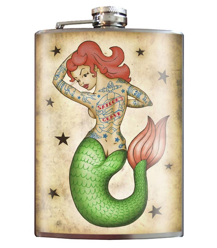 Trixie and Milo Tattooed Mermaid 8 oz. Stainless Steel Flask - The Atomic Boutique