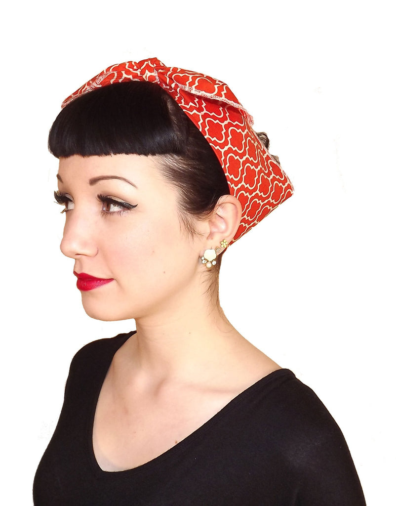 Orange Retro Circle Head Wrap Scarf - The Atomic Boutique
