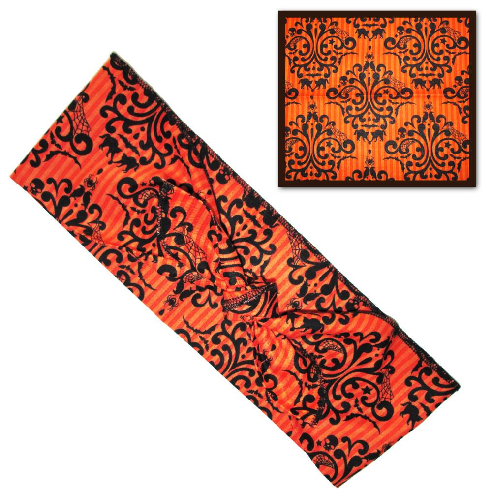 Orange Gothic Damask Fabric Head Wrap Scarf - The Atomic Boutique