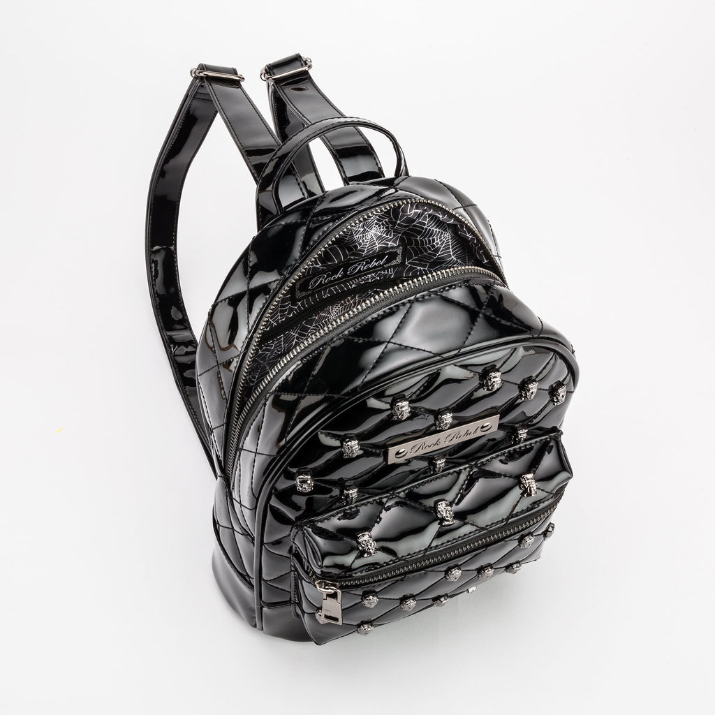 Frankenstein Head Quilted & Studded Black Mini Backpack - The Atomic Boutique