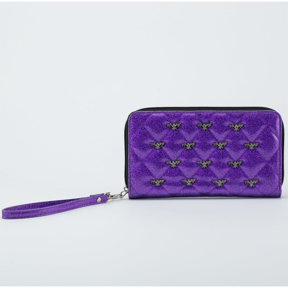 Studded Bats Purple Glitter Wallet - The Atomic Boutique