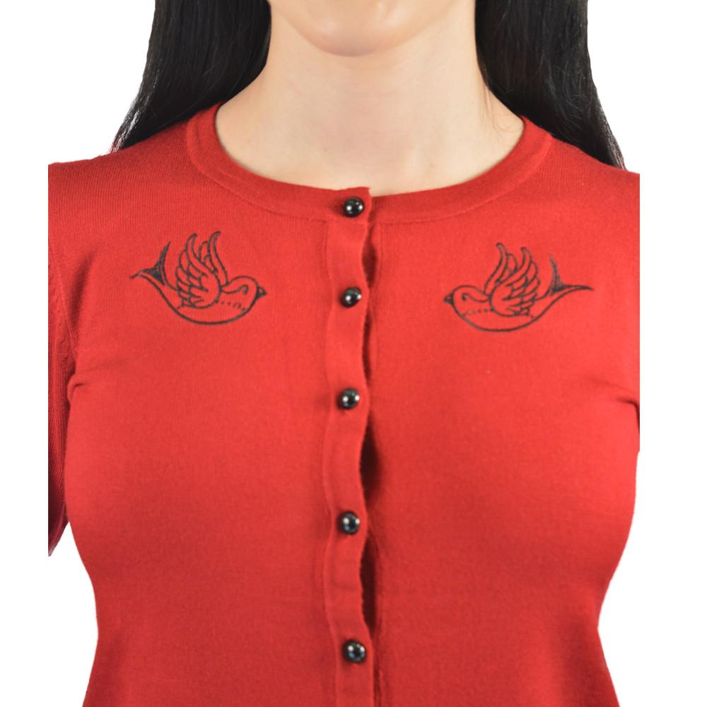 Atomic Apparel Red Sparrow Button Down Cardigan - The Atomic Boutique