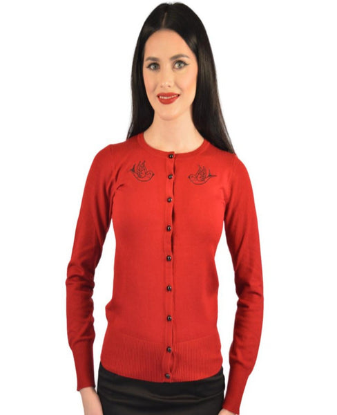 Atomic Apparel Red Sparrow Button Down Cardigan - The Atomic Boutique  - 1