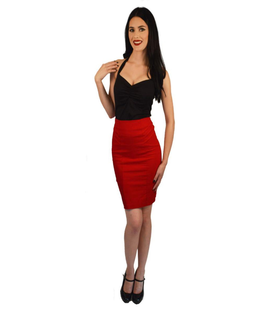 Atomic Apparel Red Pleated Scarlet Pencil Skirt - The Atomic Boutique  - 1