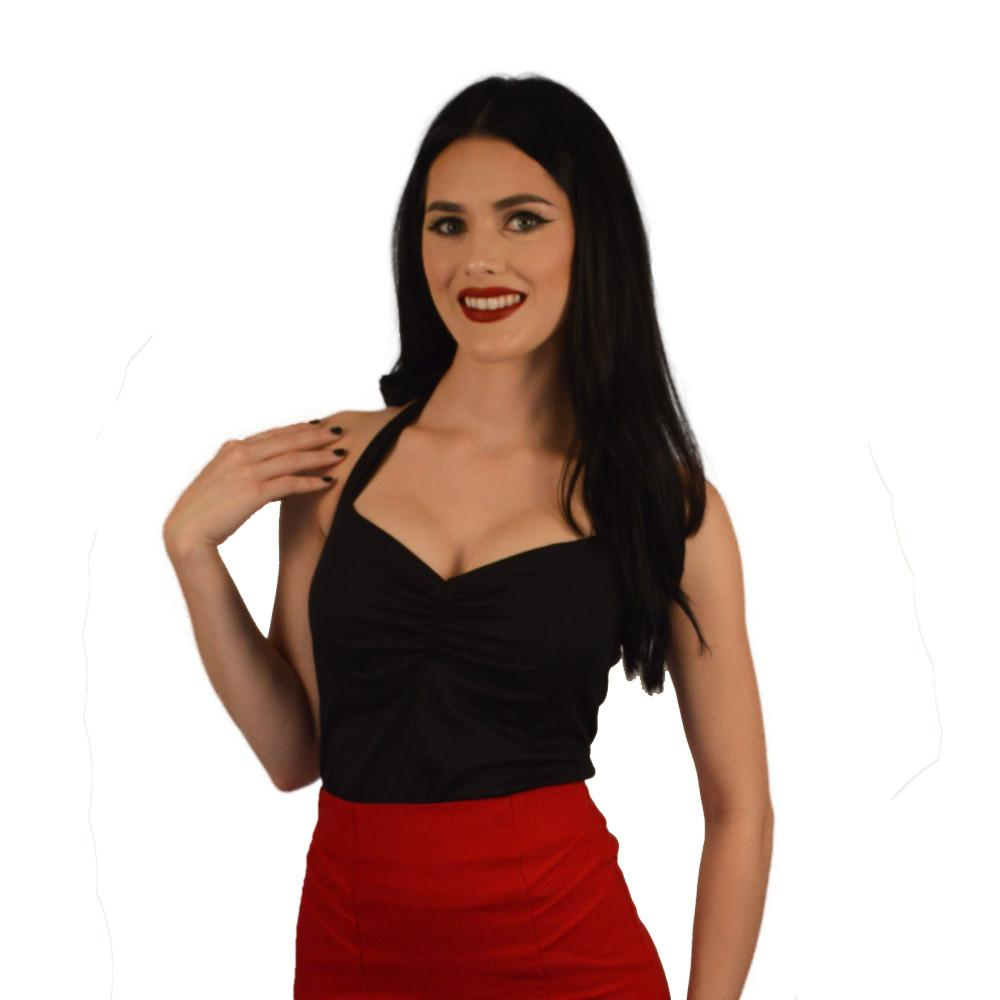 Atomic Apparel Red Pleated Scarlet Pencil Skirt - The Atomic Boutique  - 2