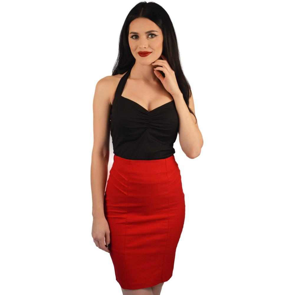 Atomic Apparel Red Pleated Scarlet Pencil Skirt - The Atomic Boutique