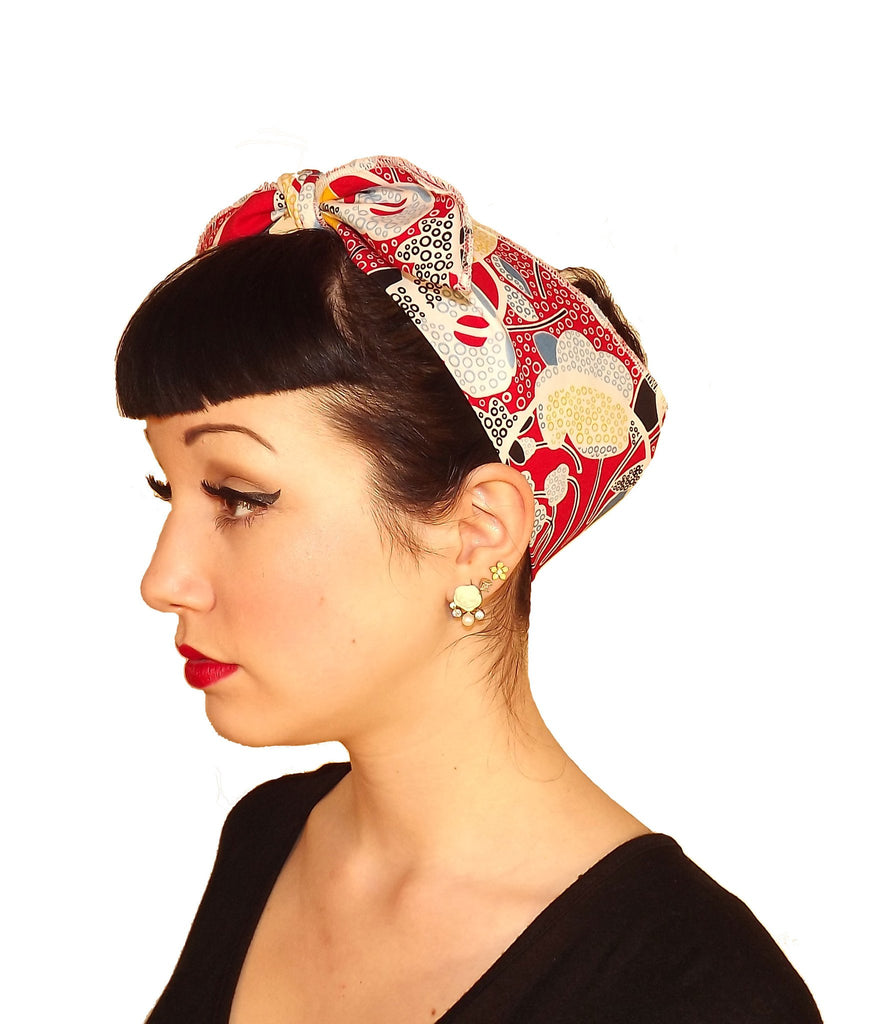 Red Primary Vintage Head Wrap Scarf - The Atomic Boutique