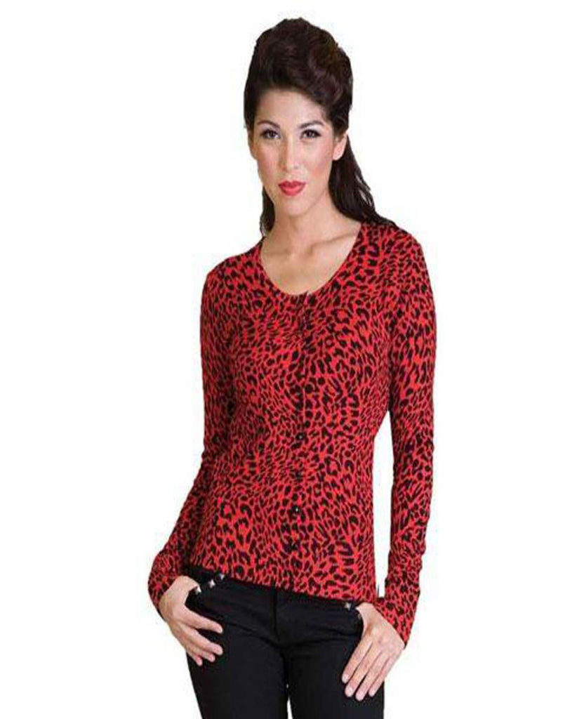 Red Leopard Cardigan - Last One Small - The Atomic Boutique