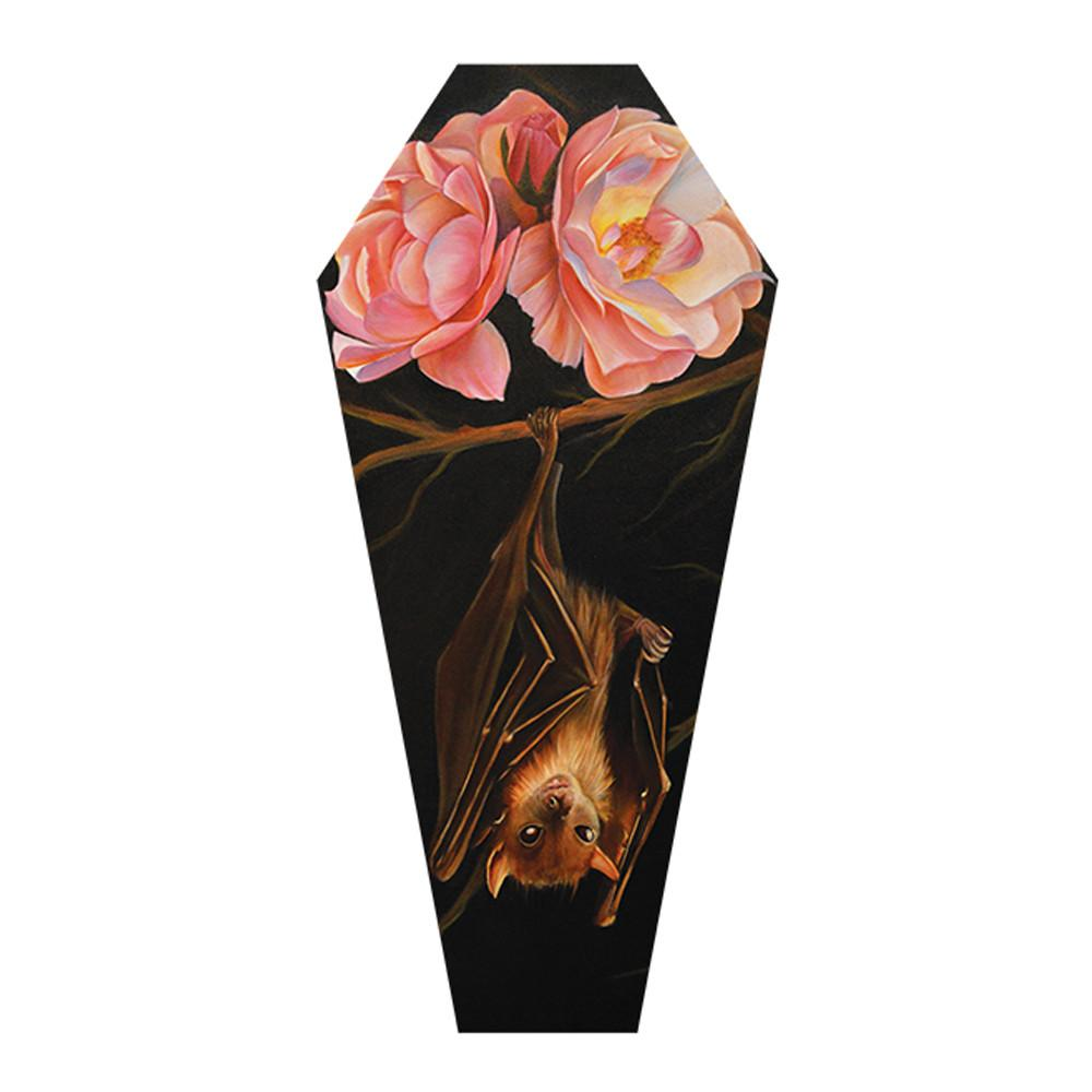 Rose & Bat Coffin Fine Art Giclee Canvas Print - The Atomic Boutique
