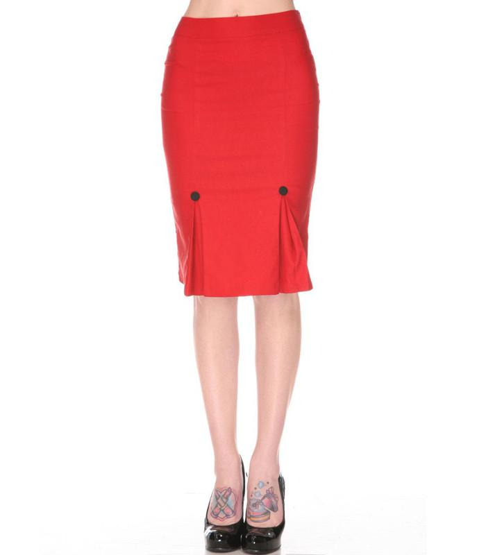 Voodoo Vixen Red Pleated Pencil Skirt - The Atomic Boutique  - 1