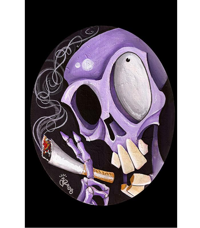 Smoking Skull Art Print by Artist Kirsten Pedroza - The Atomic Boutique