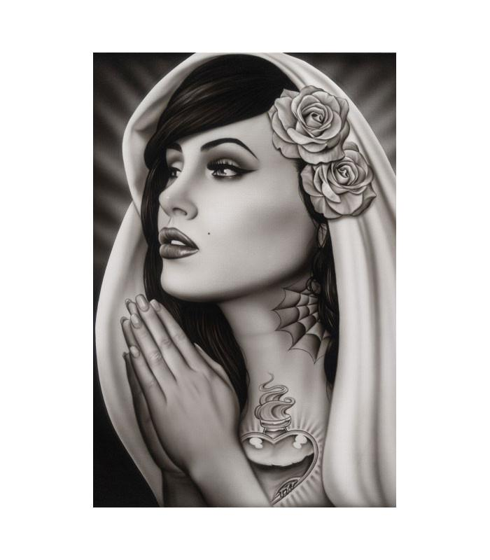 Black Market Art Company Tattooed Mary Art Print by Artist Spider - The Atomic Boutique