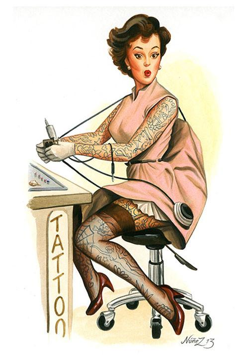 Tattooed Betty Fine Art Print - The Atomic Boutique