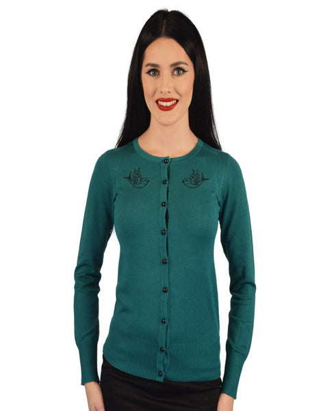 Atomic Apparel Sparrow Button Down Teal Cardigan - The Atomic Boutique  - 1