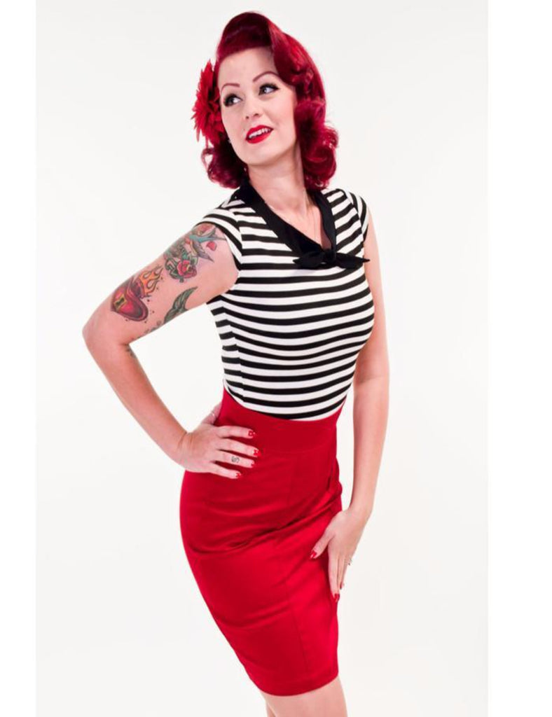 Heart of Haute Red Sassy Pencil Skirt - The Atomic Boutique  - 1