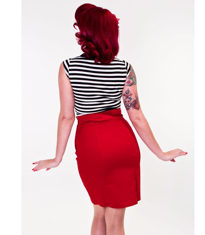 Heart of Haute Red Sassy Pencil Skirt - The Atomic Boutique  - 4