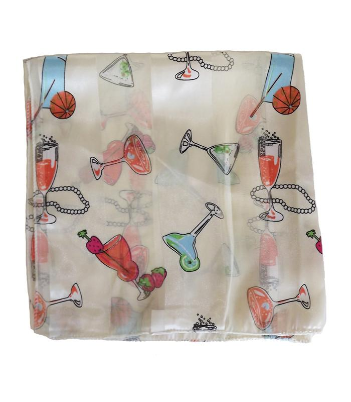 Retro Chiffon Cream Cocktail Scarf - The Atomic Boutique