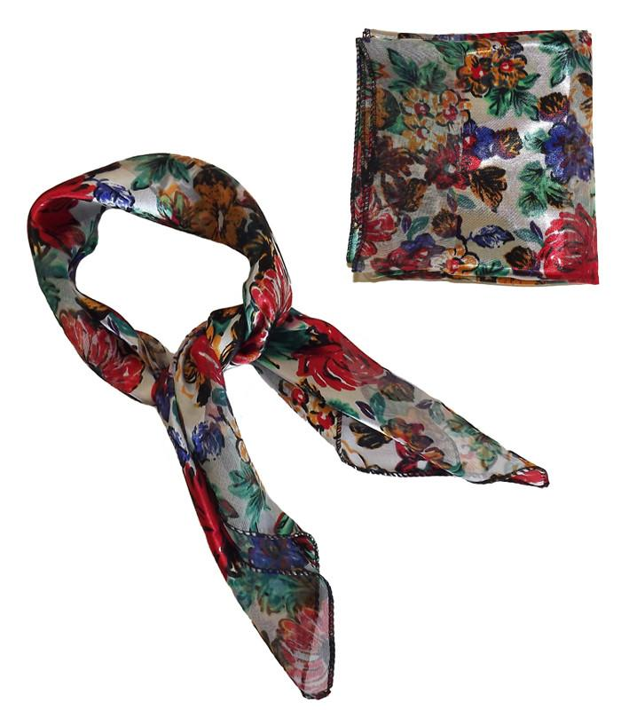 White Floral Retro Chiffon Scarf - The Atomic Boutique