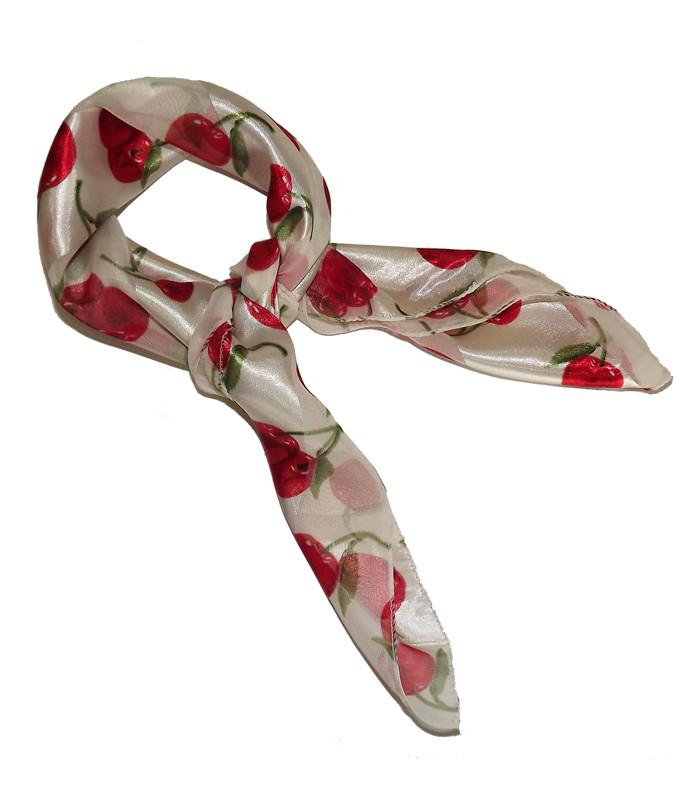 White Red Cherry Retro Chiffon Scarves - The Atomic Boutique  - 2