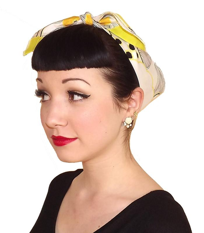 Yellow Daisy Fabric Head Wrap Scarf - The Atomic Boutique  - 2