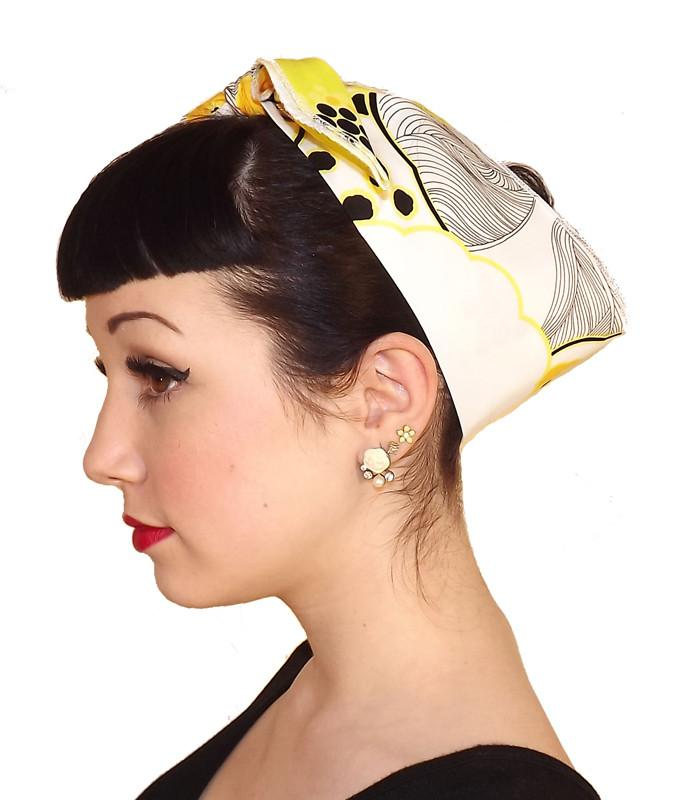 Yellow Daisy Fabric Head Wrap Scarf - The Atomic Boutique  - 3