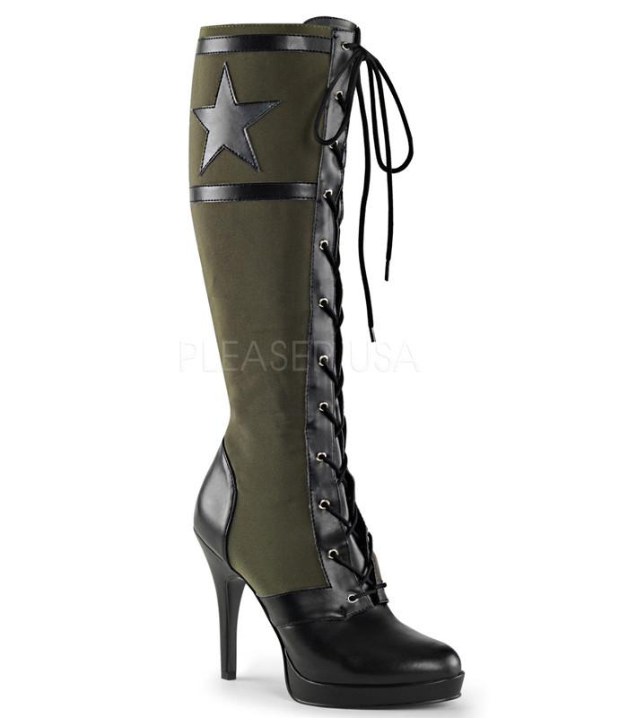 Funtasma Green Military Knee High Boots - The Atomic Boutique