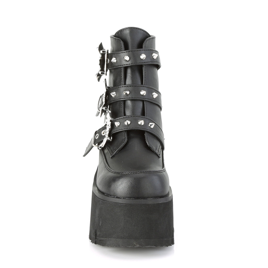 Demonia Bat Buckle ASHES-55 Ankle Platform Boots - The Atomic Boutique