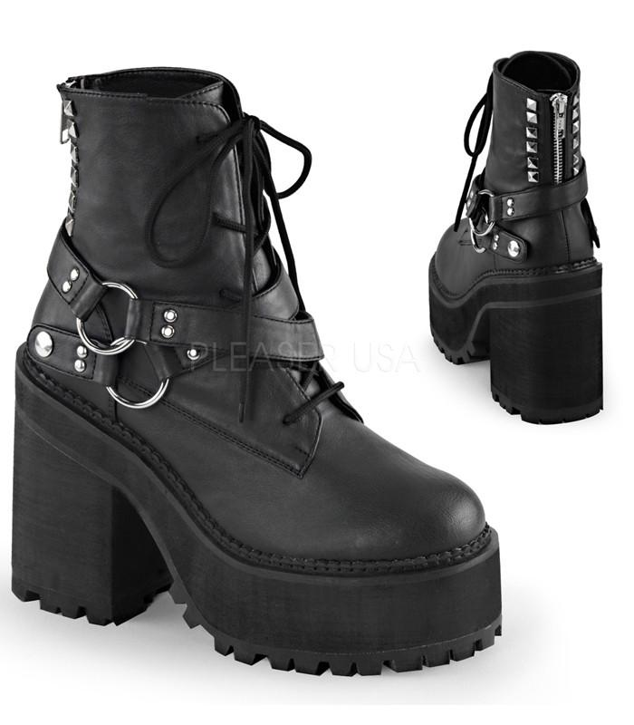 Demonia Assault Strap Vegan Leather Boots - The Atomic Boutique  - 1