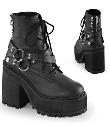 Demonia Black T-strap Bow Platforms